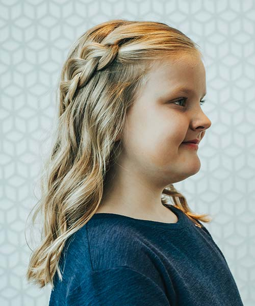 Young girl with fresh blowout and braid