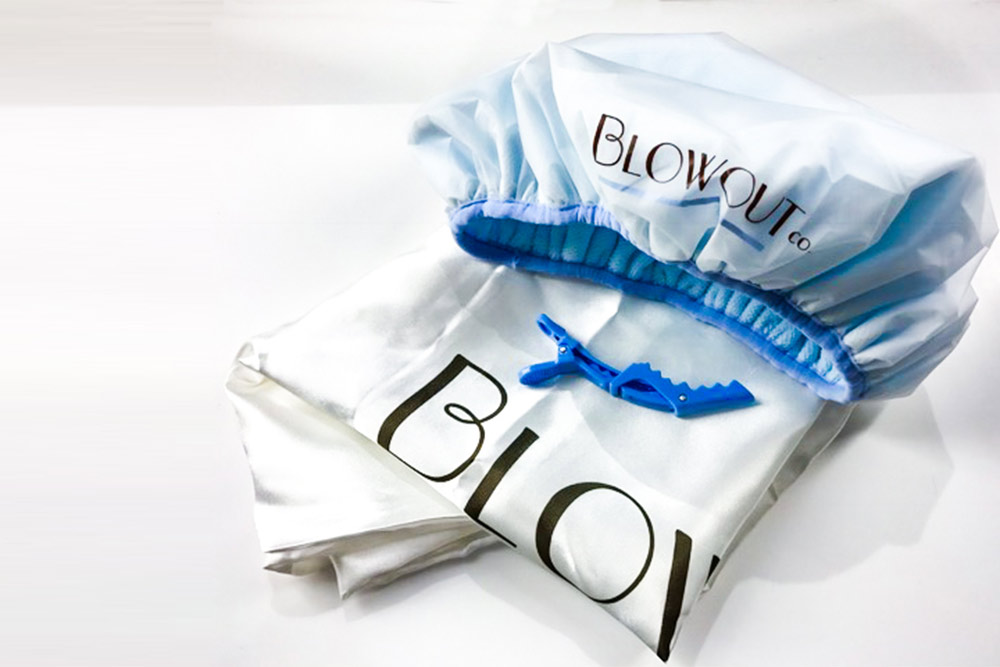 Blowout Saver Bundle Silk Pillowcase Clips and Shower cap